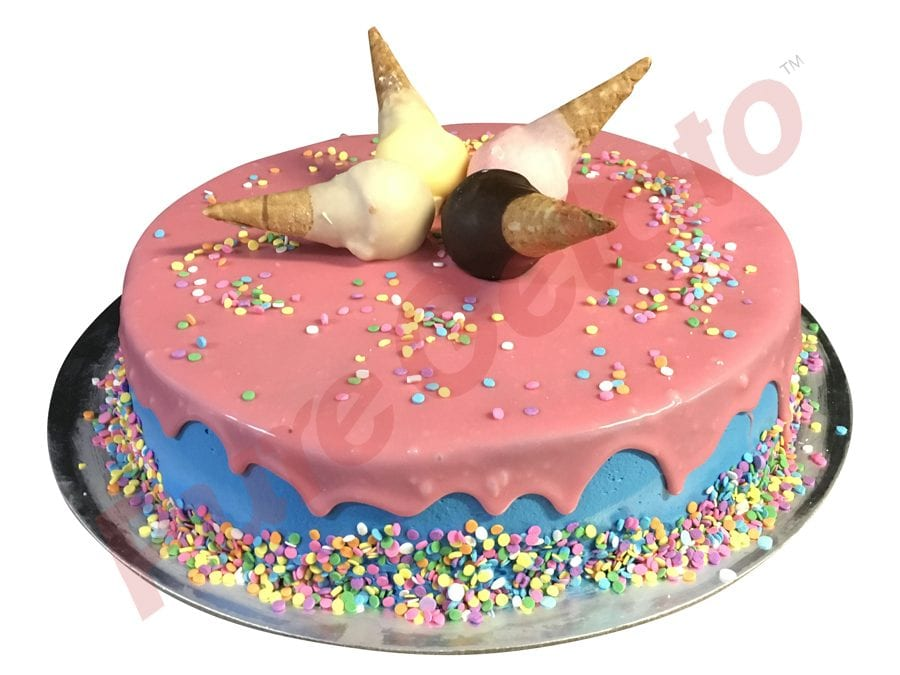 Upside Down mini Cones Cake pink choc drip Blue Cream+sprinkles
