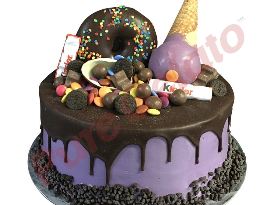 Upside down Cone kinder Cluster Choc Drip double stack Purple Cream