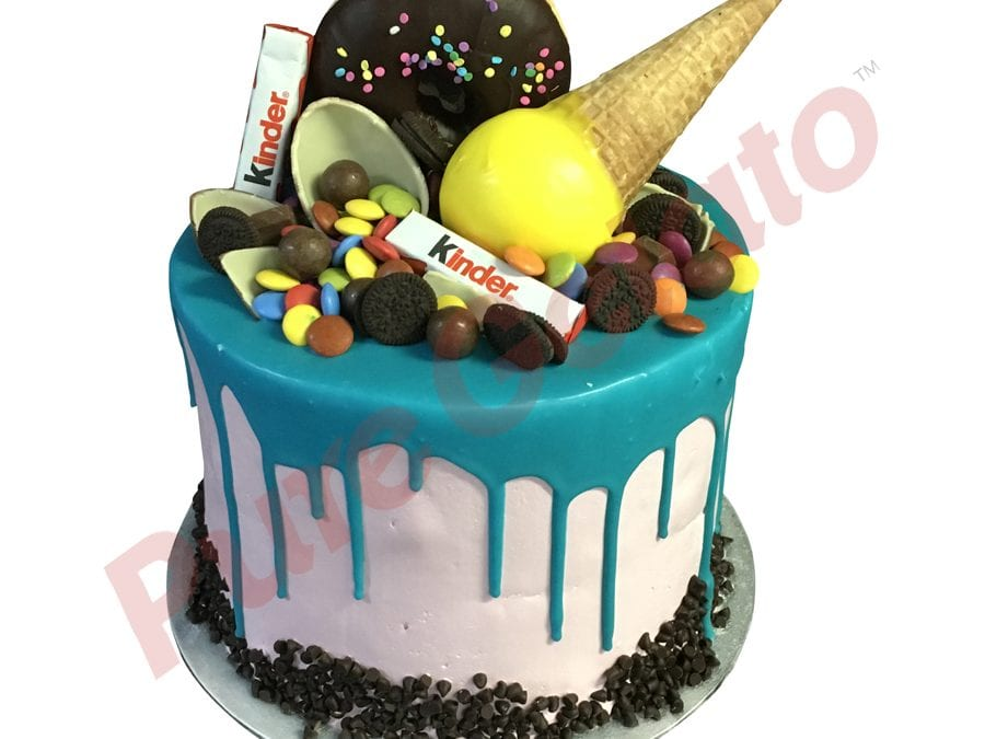 Upside down Cone kinder Cluster teal Choc Drip triple stack