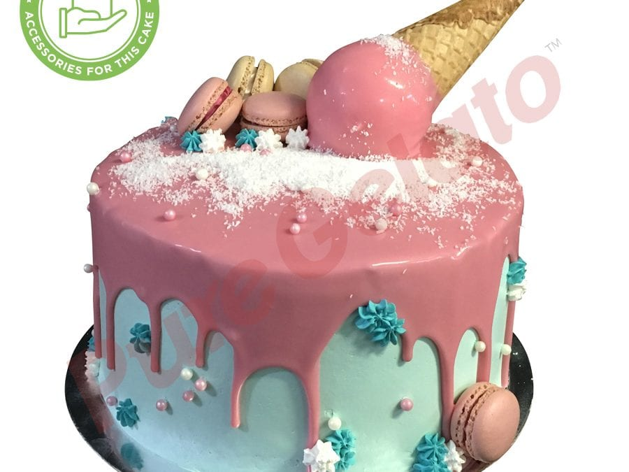 Upside down Cone pink Choc Drip Double Stack teal cream+macaroons