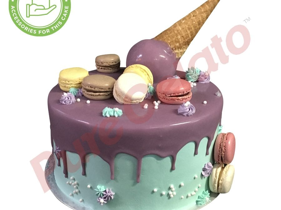 Upside down Cone purple Choc Drip Double Stack teal cream+macaroons