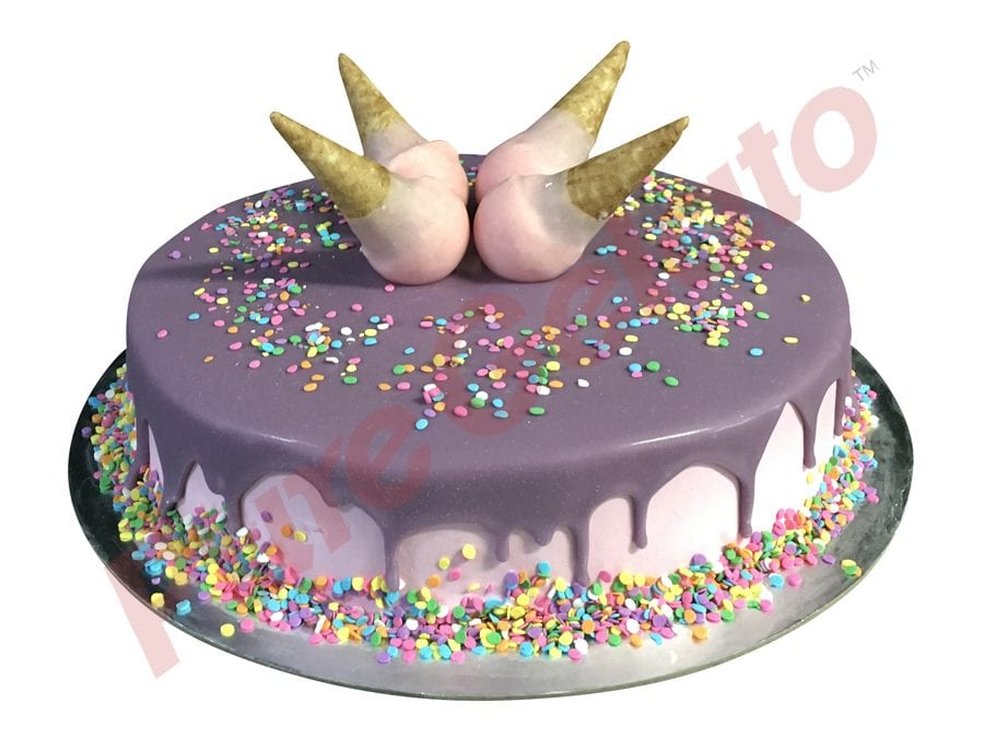 Upside down mini Cone cake purple Choc Drip Pink cream Sprinkles