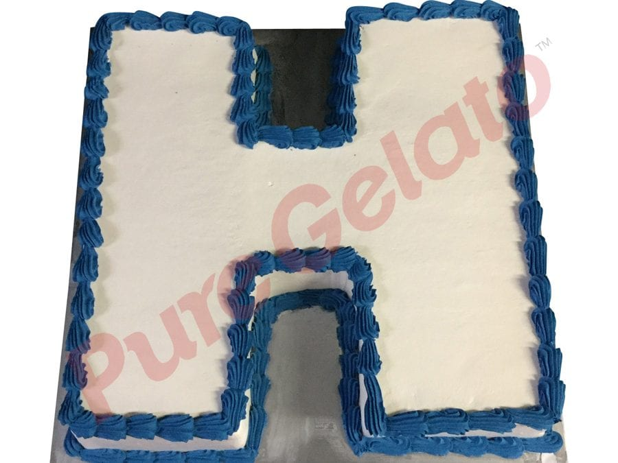 letter Cakes H Smooth Cream Blue Piping