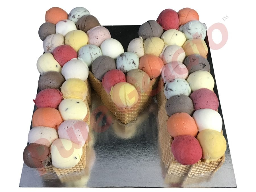 letter Cakes M Scoop Decorated Wafer Sides