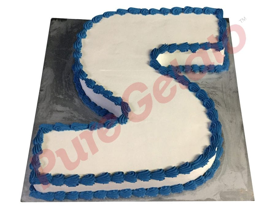 letter Cakes S Smooth Cream Blue Piping