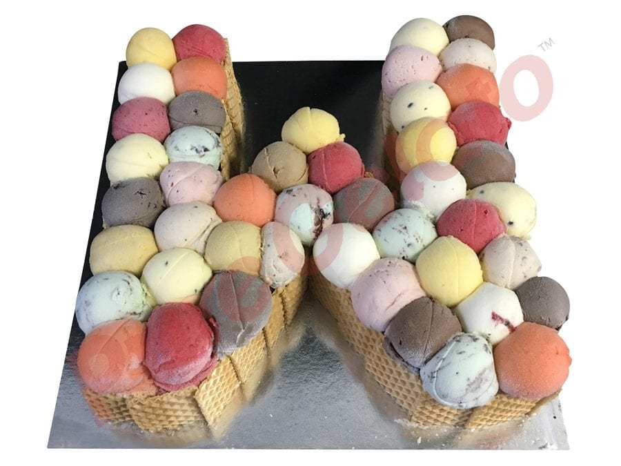 letter Cakes W Scoop Decorated Wafer Sides